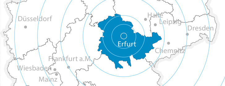 Central location in the heart of Thuringia, Germany and Europe